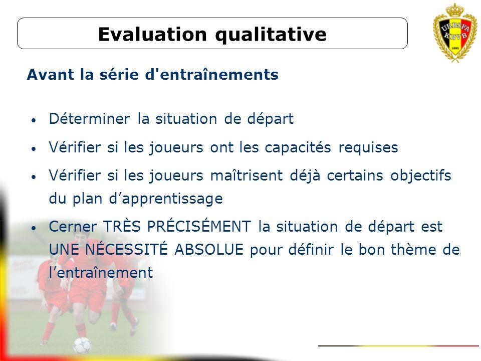 Evaluation qualitative Vérifier si chaque joueur se développe bien suivant ses propres possibilités Evaluation des objectifs du plan d'apprentissage D