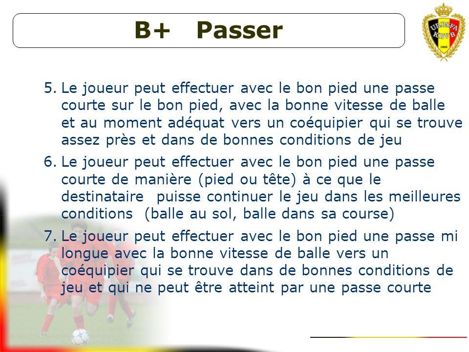 B+ Se démarquer - Soutenir 1.Le joueur peut se démarquer pour recevoir la balle dans des conditions de jeu optimales, au moment où le porteur du ballo