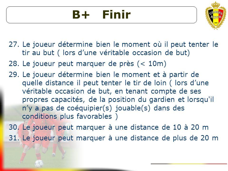 B+ Conduire et dribbler 23. Le joueur sait à quel moment il doit dribbler (personne nest jouable dans des conditions propices et il n'y a aucun danger
