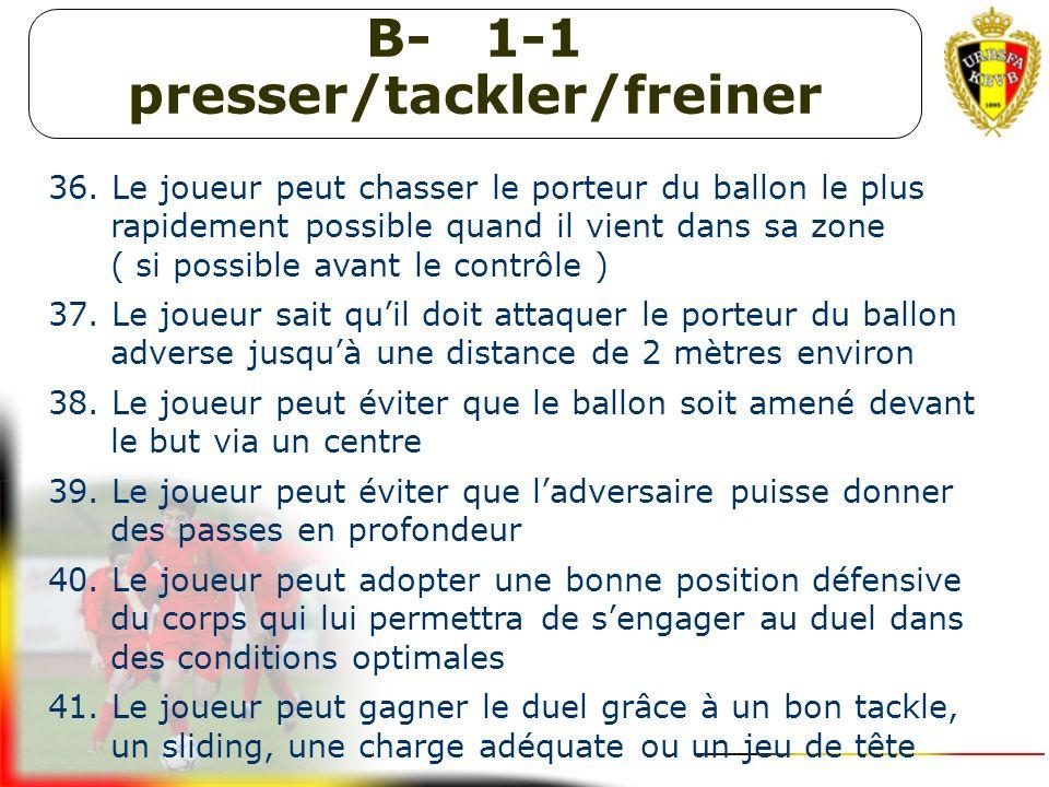 B- Intercepter et contrer 32. Le joueur sait à quel moment il doit aller au ballon et sait se déplacer de manière adéquate pour lintercepter 33. Le jo