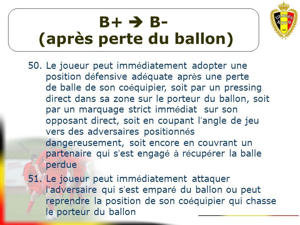 B- Couper les angles de jeu, marquage et couverture 47. Le joueur peut couper le mieux possible les angles de jeu vers son adversaire direct pour que