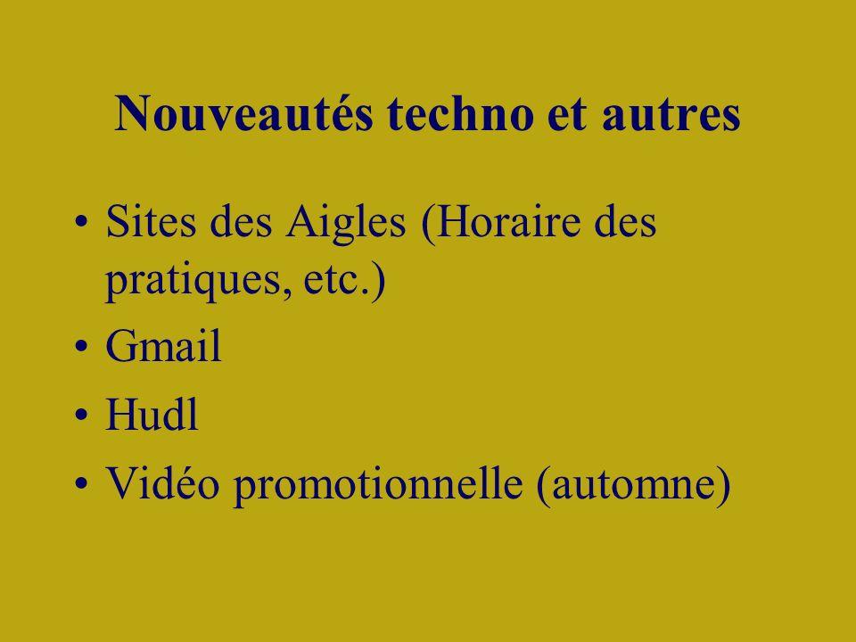 Nouveautés techno et autres Sites des Aigles (Horaire des pratiques, etc.) Gmail Hudl Vidéo promotionnelle (automne)