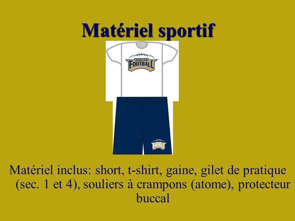 Matériel sportif Matériel inclus: short, t-shirt, gaine, gilet de pratique (sec.