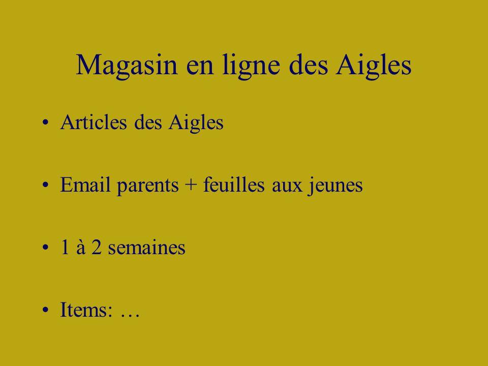 Magasin en ligne des Aigles Articles des Aigles Email parents + feuilles aux jeunes 1 à 2 semaines Items: …