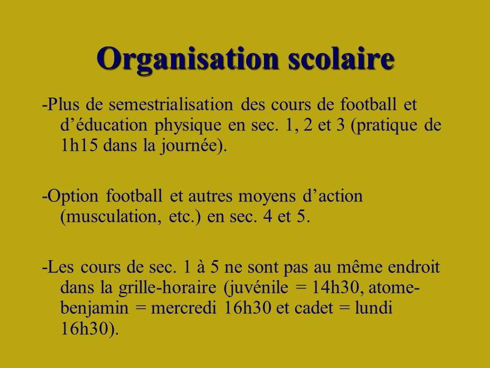 Organisation scolaire -Plus de semestrialisation des cours de football et déducation physique en sec.
