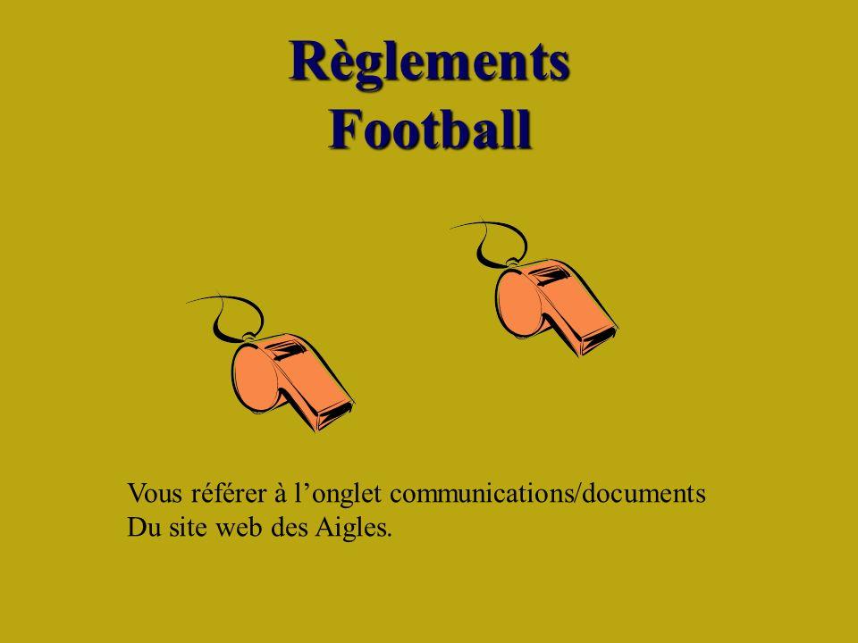 Règlements Football Vous référer à longlet communications/documents Du site web des Aigles.