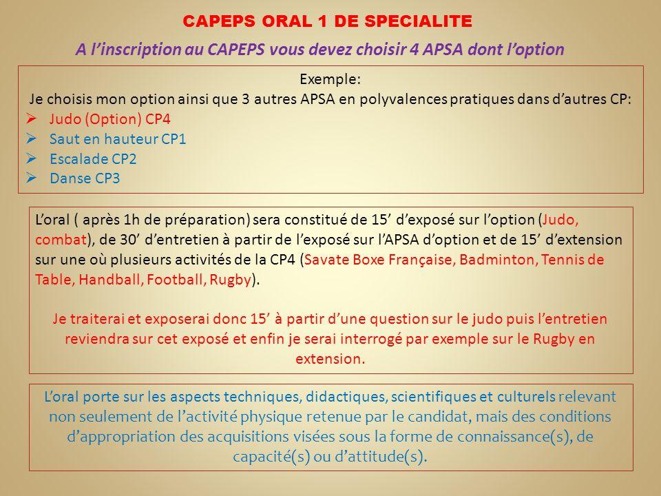 A linscription au CAPEPS vous devez choisir 4 APSA dont loption Exemple: Je choisis mon option ainsi que 3 autres APSA en polyvalences pratiques dans