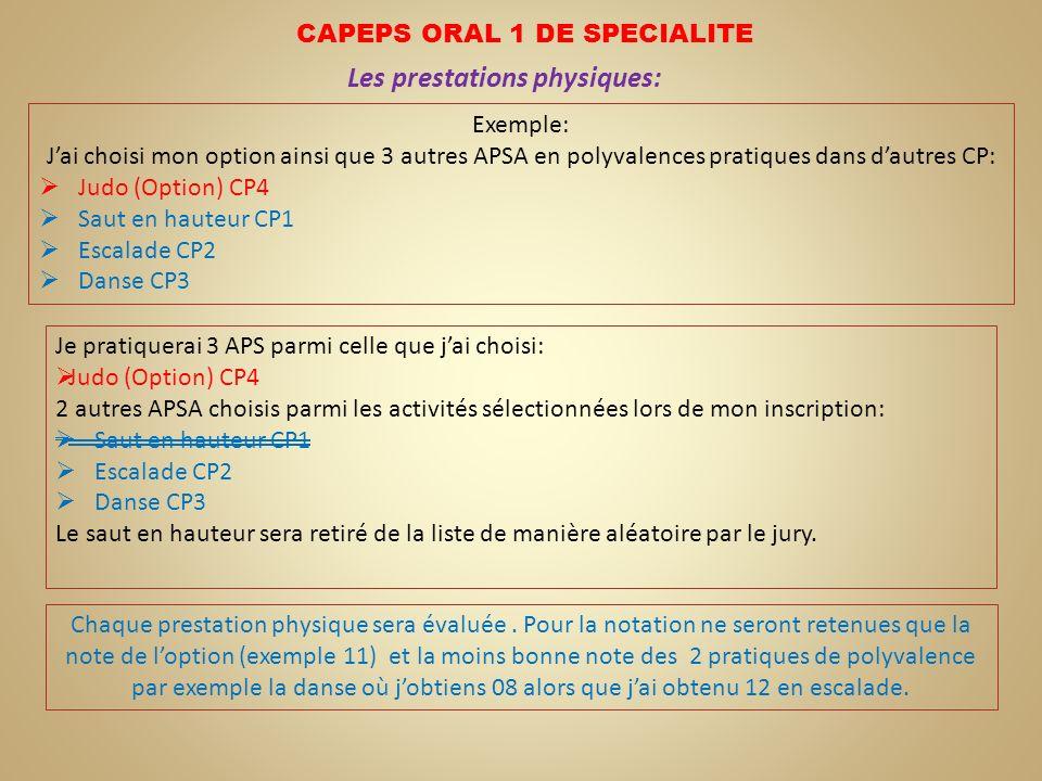 CAPEPS ORAL 1 DE SPECIALITE Les prestations physiques: Exemple: Jai choisi mon option ainsi que 3 autres APSA en polyvalences pratiques dans dautres C