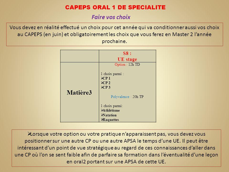 CAPEPS ORAL 1 DE SPECIALITE Faire vos choix Vous devez en réalité effectué un choix pour cet année qui va conditionner aussi vos choix au CAPEPS (en j