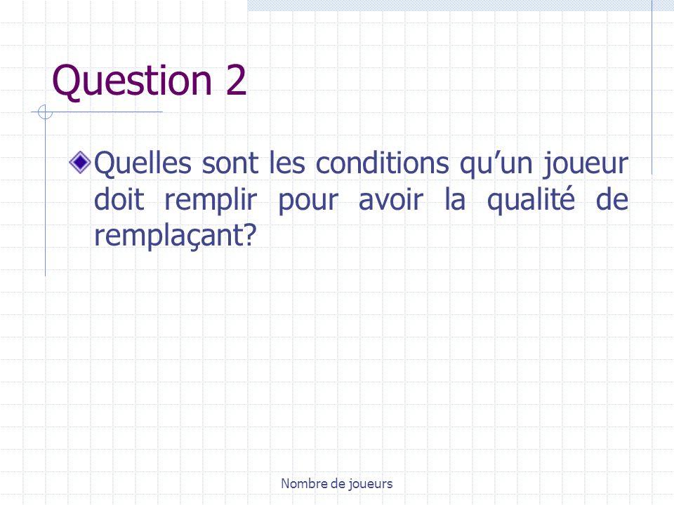 Nombre de joueurs Question 2 Quelles sont les conditions quun joueur doit remplir pour avoir la qualité de remplaçant?