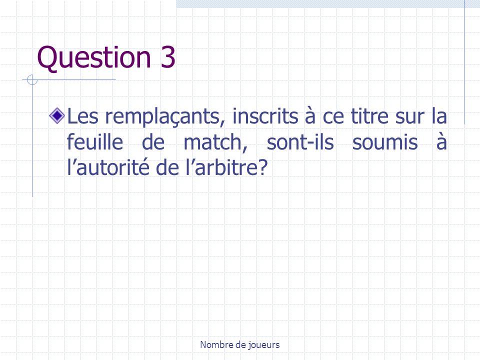 Nombre de joueurs Question 3 Les remplaçants, inscrits à ce titre sur la feuille de match, sont-ils soumis à lautorité de larbitre?