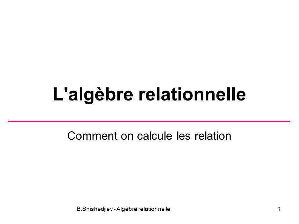 B.Shishedjiev - Algèbre relationnelle2 Définitions Les opérateurs sur relations Convention On note A(X) (All) l ensemble de toutes les affectations du schéma de relation X.