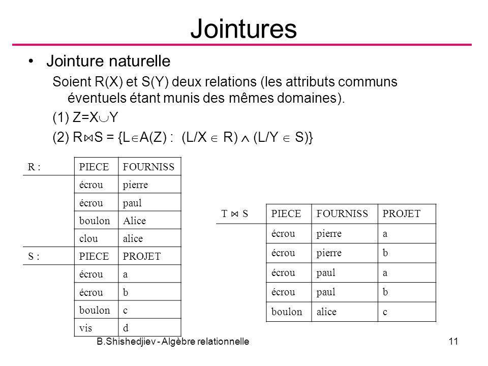 B.Shishedjiev - Algèbre relationnelle11 Jointures Jointure naturelle Soient R(X) et S(Y) deux relations (les attributs communs éventuels étant munis d