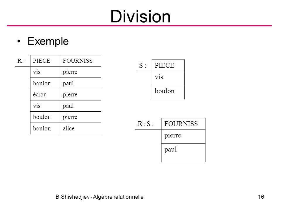 B.Shishedjiev - Algèbre relationnelle16 Division Exemple R :PIECEFOURNISS vispierre boulonpaul écroupierre vispaul boulonpierre boulonalice S :PIECE v