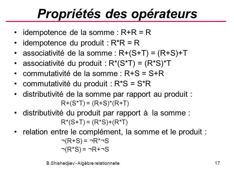 B.Shishedjiev - Algèbre relationnelle17 Propriétés des opérateurs idempotence de la somme : R+R = R idempotence du produit : R*R = R associativité de