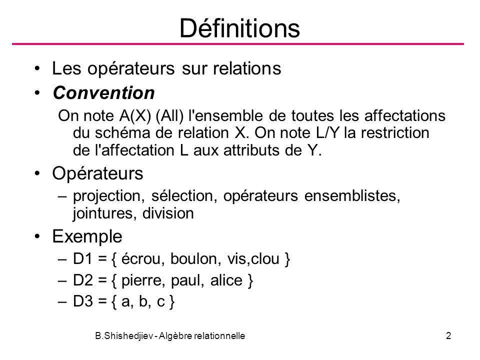 B.Shishedjiev - Algèbre relationnelle13 Jointures Semijointures( ) T(Z) = R(X) S(Y), U(W)=R S (1)Z=X, W=Y (2)T = R S = X R S (3)U = R S= Y R S R :PIECEFOURNISS écroupierre écroupaul boulonAlice cloualice S :PIECEPROJET écroua b boulonc visd R S PIECEFOURNISS écroupierre écroupaul boulonalice R S PIECEPROJET écroua b boulona