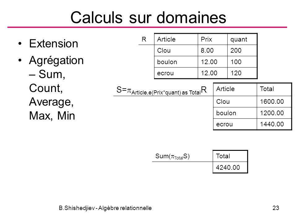 B.Shishedjiev - Algèbre relationnelle23 Calculs sur domaines Extension Agrégation – Sum, Count, Average, Max, Min RArticlePrixquant Clou8.00200 boulon
