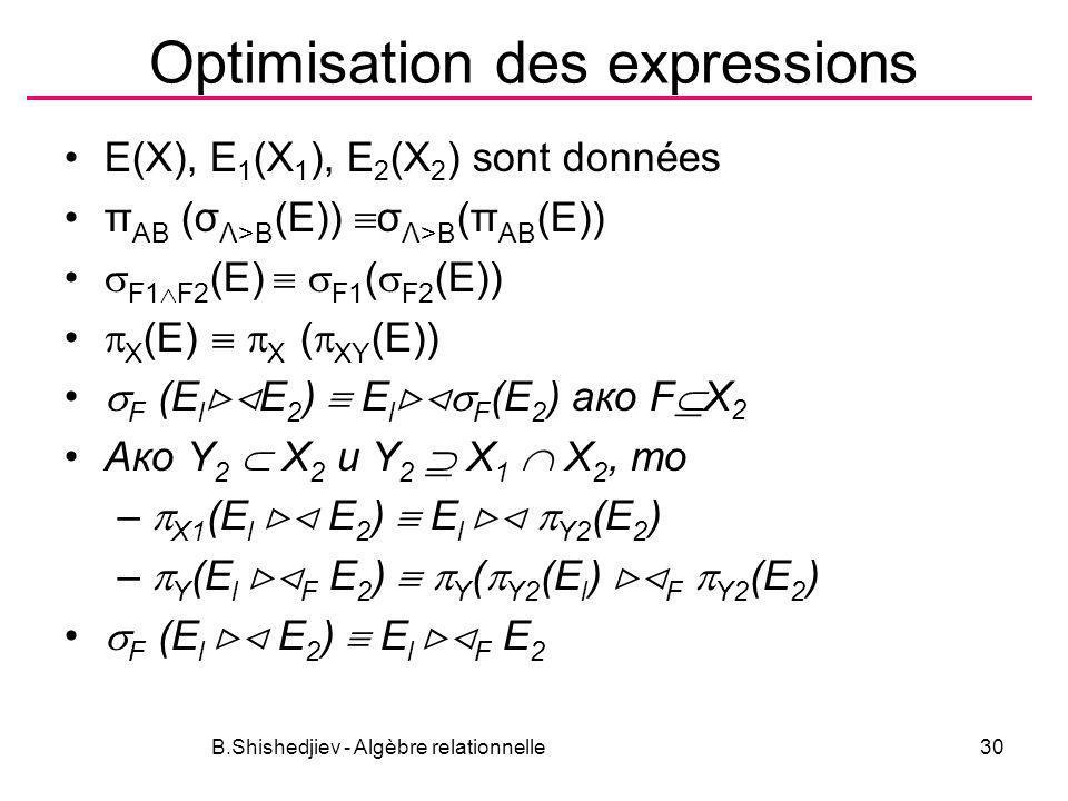 B.Shishedjiev - Algèbre relationnelle30 Optimisation des expressions E(X), E 1 (X 1 ), E 2 (X 2 ) sont données π AB (σ Λ>B (E)) σ Λ>B (π AB (E)) F1 F2