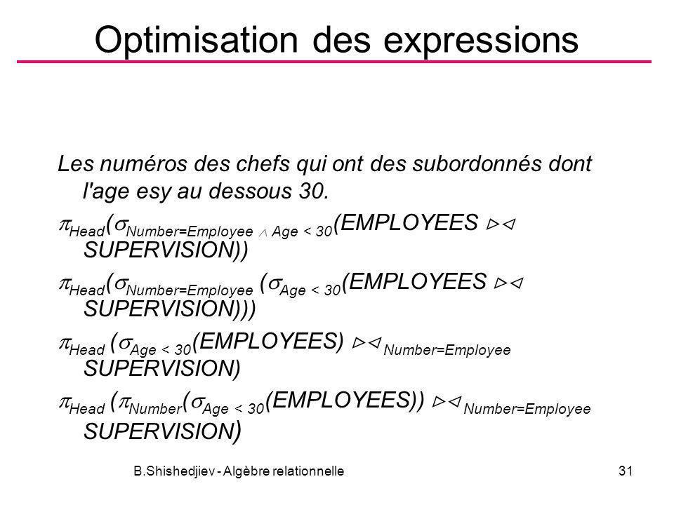 B.Shishedjiev - Algèbre relationnelle31 Optimisation des expressions Les numéros des chefs qui ont des subordonnés dont l'age esy au dessous 30. Head