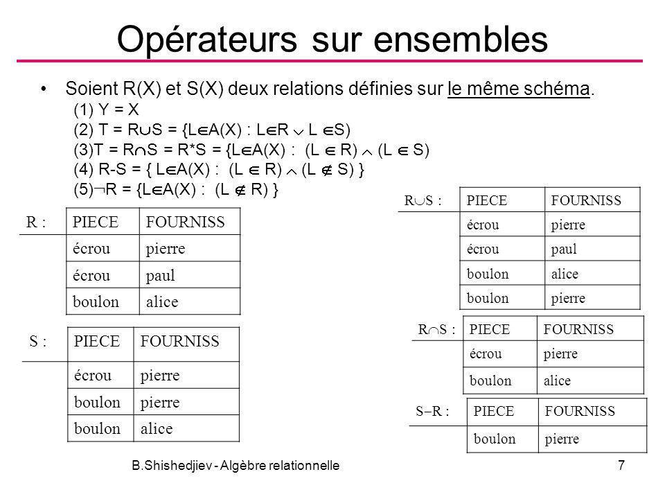 B.Shishedjiev - Algèbre relationnelle7 Opérateurs sur ensembles Soient R(X) et S(X) deux relations définies sur le même schéma. (1) Y = X (2) T = R S