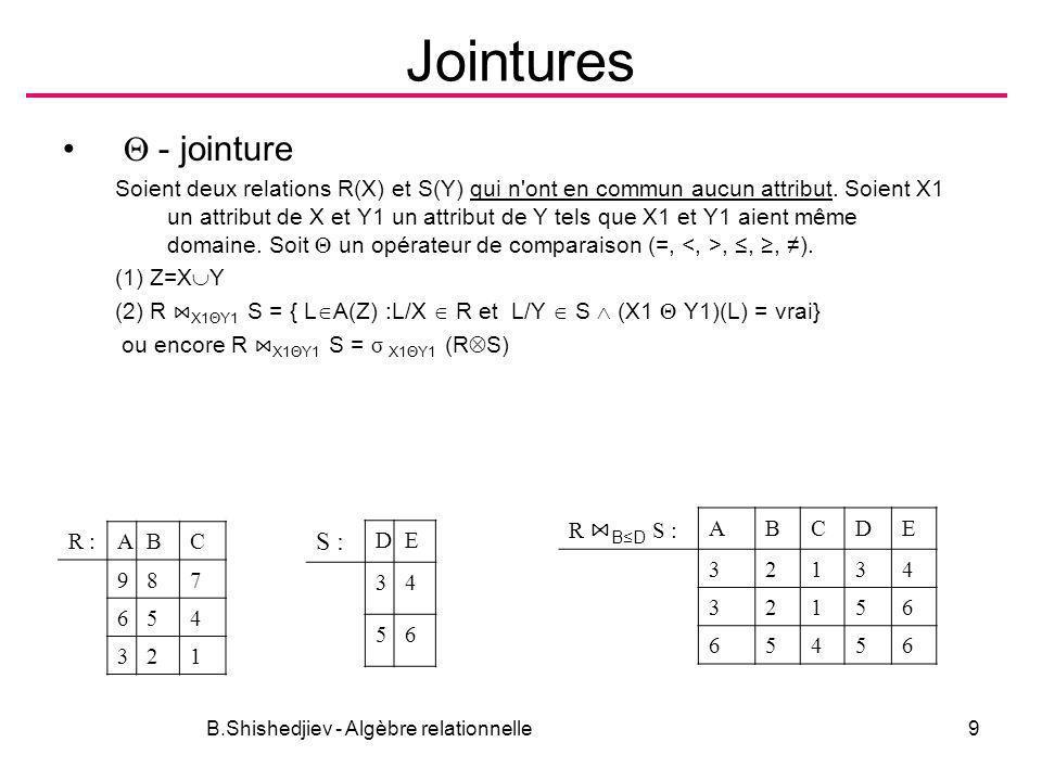 B.Shishedjiev - Algèbre relationnelle30 Optimisation des expressions E(X), E 1 (X 1 ), E 2 (X 2 ) sont données π AB (σ Λ>B (E)) σ Λ>B (π AB (E)) F1 F2 (E) F1 ( F2 (E)) X (E) X ( XY (E)) F (E l E 2 ) E l F (E 2 ) ако F X 2 Ако Y 2 X 2 и Y 2 X 1 X 2, то – X1 (E l E 2 ) E l Y2 (E 2 ) – Y (E l F E 2 ) Y ( Y2 (E l ) F Y2 (E 2 ) F (E l E 2 ) E l F E 2