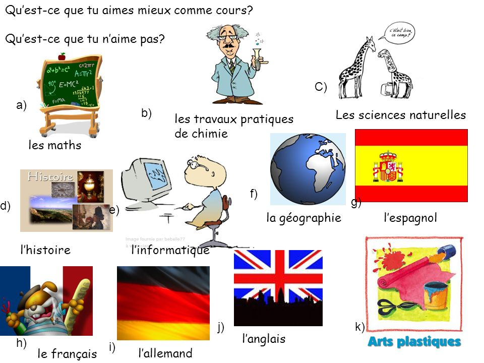 a) b) C) d) e) f) g) h) i) j)k) Quest-ce que tu aimes mieux comme cours.