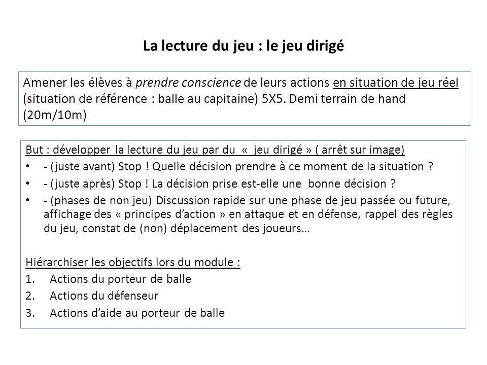 La lecture du jeu : le jeu dirigé But : développer la lecture du jeu par du « jeu dirigé » ( arrêt sur image) - (juste avant) Stop ! Quelle décision p