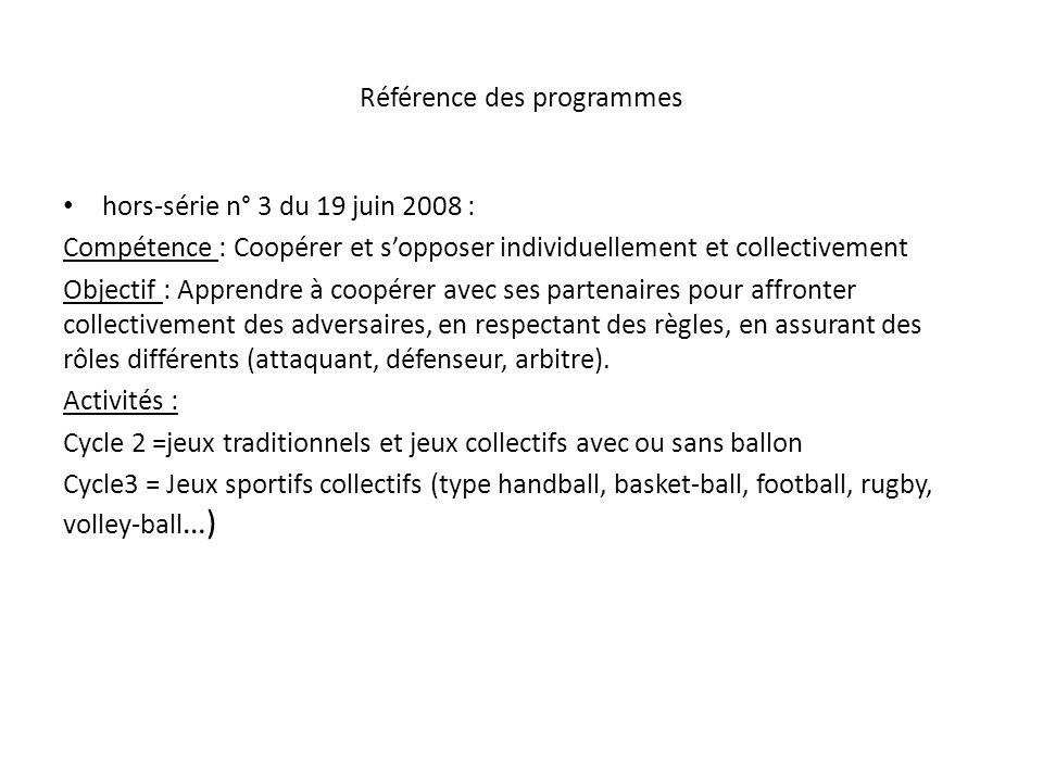 Référence des programmes hors-série n° 3 du 19 juin 2008 : Compétence : Coopérer et sopposer individuellement et collectivement Objectif : Apprendre à