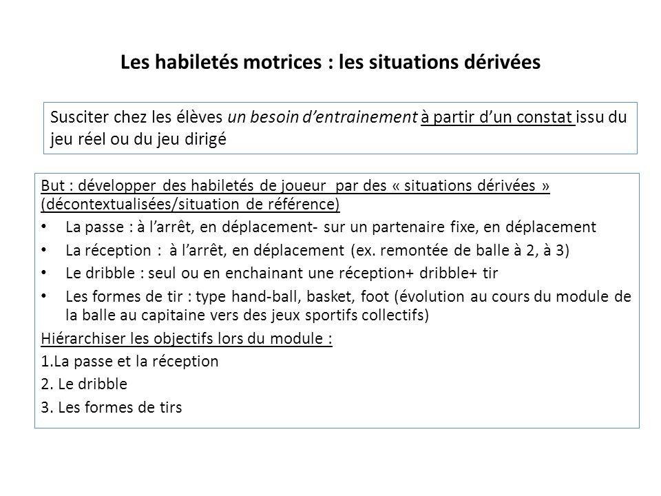 Les habiletés motrices : les situations dérivées But : développer des habiletés de joueur par des « situations dérivées » (décontextualisées/situation