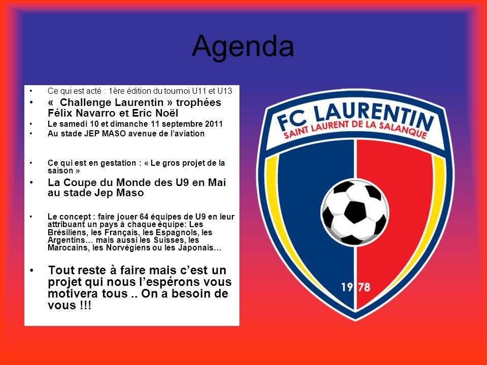 Agenda Ce qui est acté : 1ère édition du tournoi U11 et U13 « Challenge Laurentin » trophées Félix Navarro et Eric Noël Le samedi 10 et dimanche 11 se