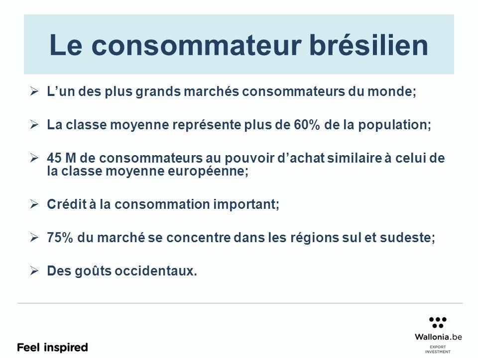 Le consommateur brésilien Lun des plus grands marchés consommateurs du monde; La classe moyenne représente plus de 60% de la population; 45 M de conso