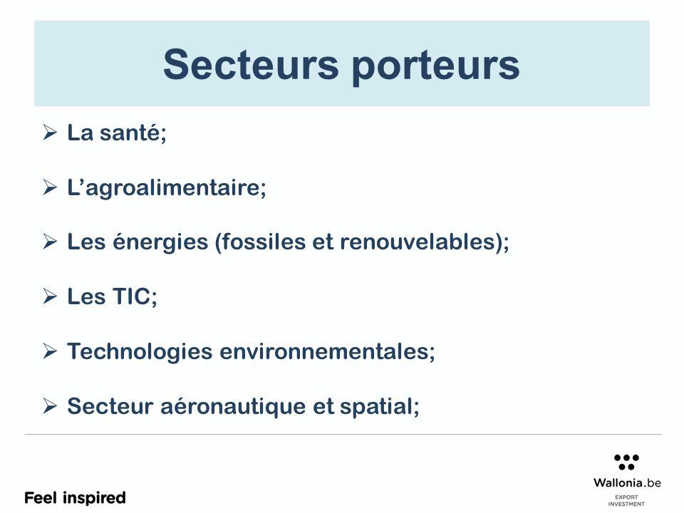 Secteurs porteurs La santé; Lagroalimentaire; Les énergies (fossiles et renouvelables); Les TIC; Technologies environnementales; Secteur aéronautique