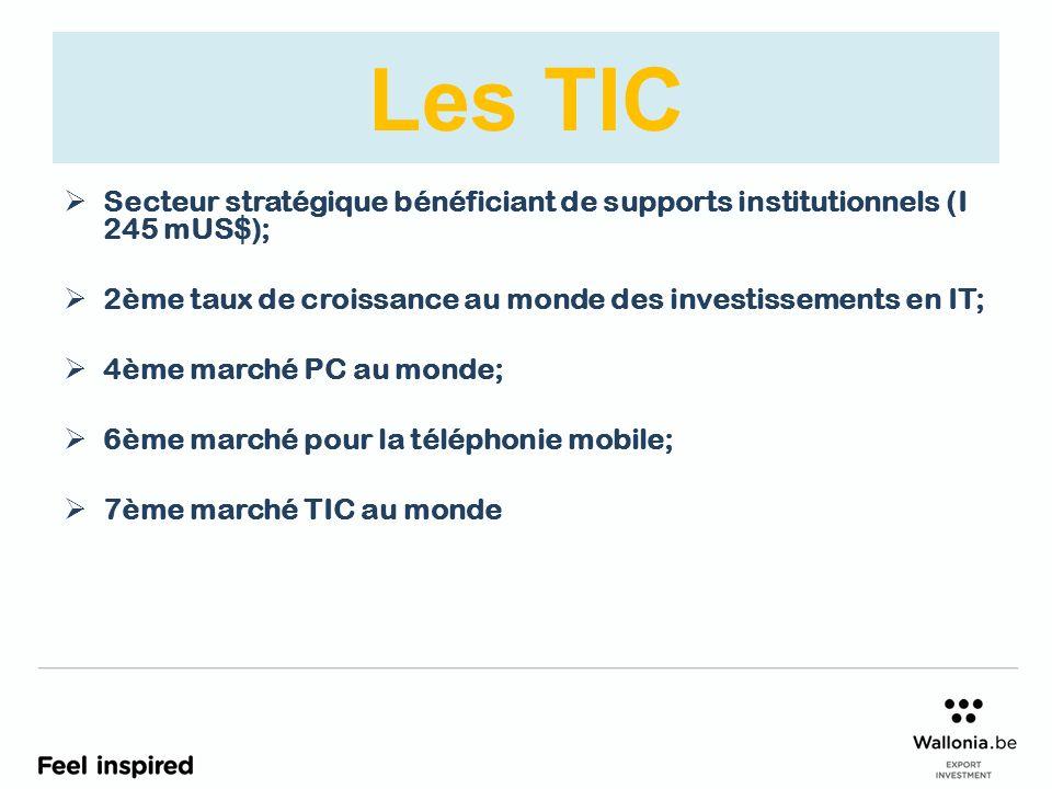 Les TIC Secteur stratégique bénéficiant de supports institutionnels (I 245 mUS$); 2ème taux de croissance au monde des investissements en IT; 4ème marché PC au monde; 6ème marché pour la téléphonie mobile; 7ème marché TIC au monde