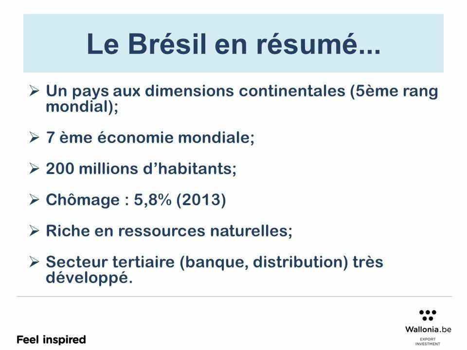 Le Brésil en résumé... Un pays aux dimensions continentales (5ème rang mondial); 7 ème économie mondiale; 200 millions dhabitants; Chômage : 5,8% (201