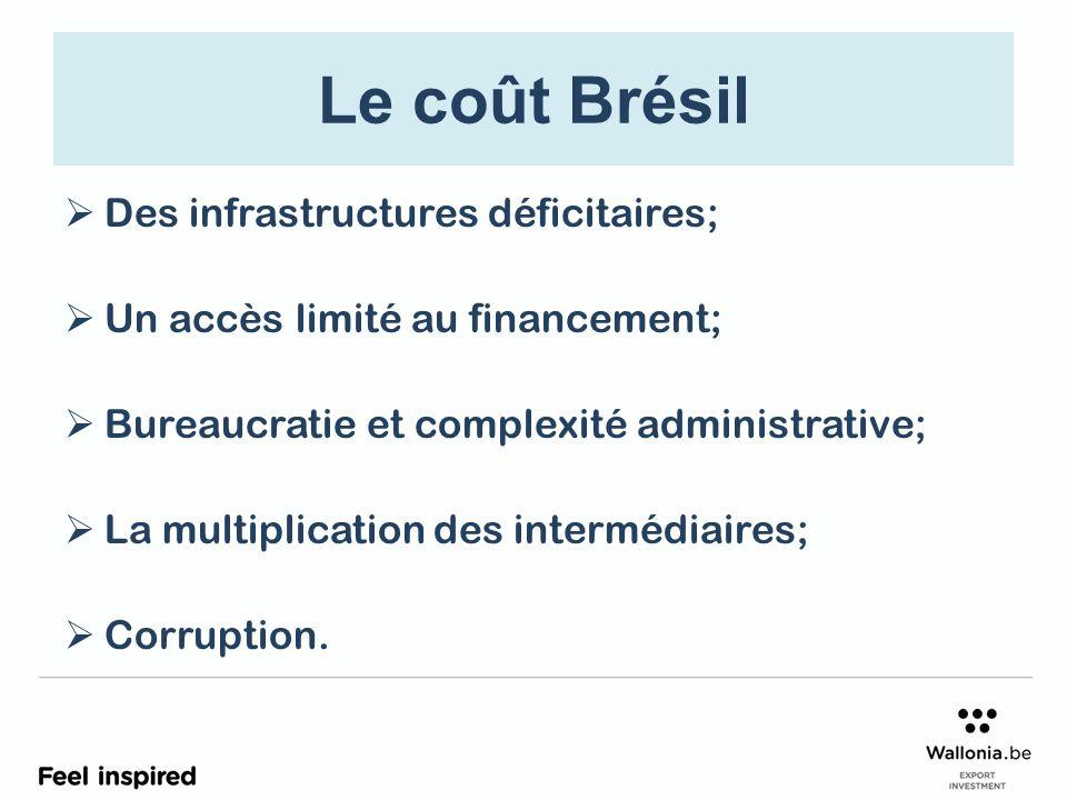 Le coût Brésil Des infrastructures déficitaires; Un accès limité au financement; Bureaucratie et complexité administrative; La multiplication des intermédiaires; Corruption.