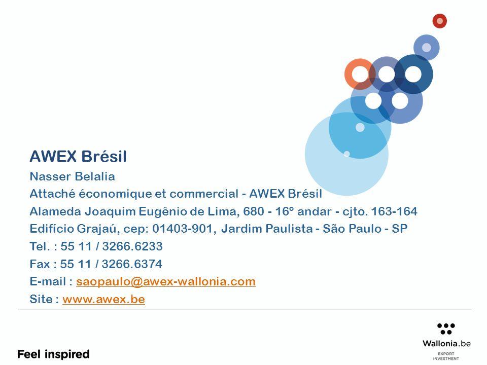 AWEX Brésil Nasser Belalia Attaché économique et commercial - AWEX Brésil Alameda Joaquim Eugênio de Lima, 680 - 16º andar - cjto. 163-164 Edifício Gr