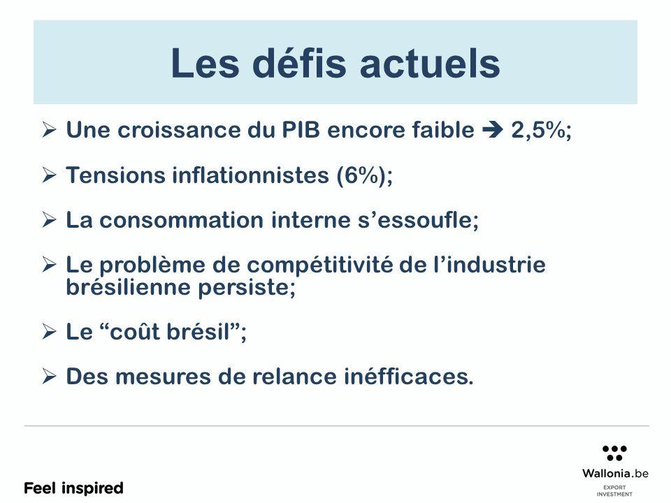 Les défis actuels Une croissance du PIB encore faible 2,5%; Tensions inflationnistes (6%); La consommation interne sessoufle; Le problème de compétitivité de lindustrie brésilienne persiste; Le coût brésil; Des mesures de relance inéfficaces.