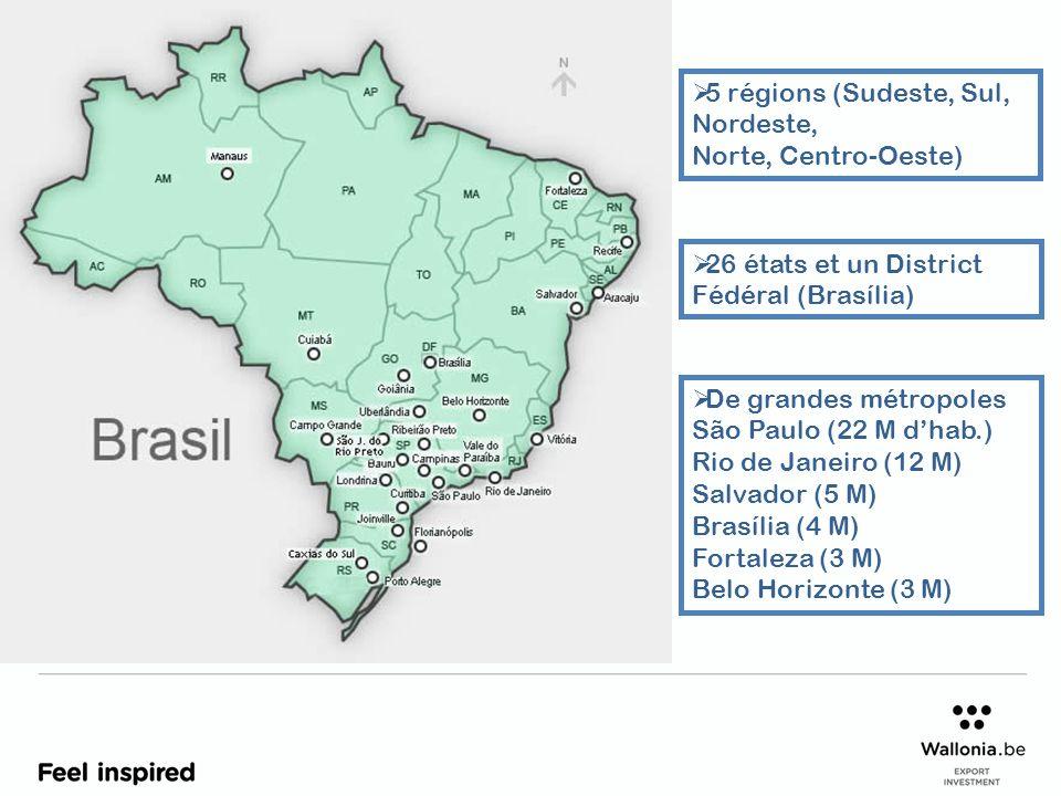 5 régions (Sudeste, Sul, Nordeste, Norte, Centro-Oeste) 26 états et un District Fédéral (Brasília) De grandes métropoles São Paulo (22 M dhab.) Rio de Janeiro (12 M) Salvador (5 M) Brasília (4 M) Fortaleza (3 M) Belo Horizonte (3 M)