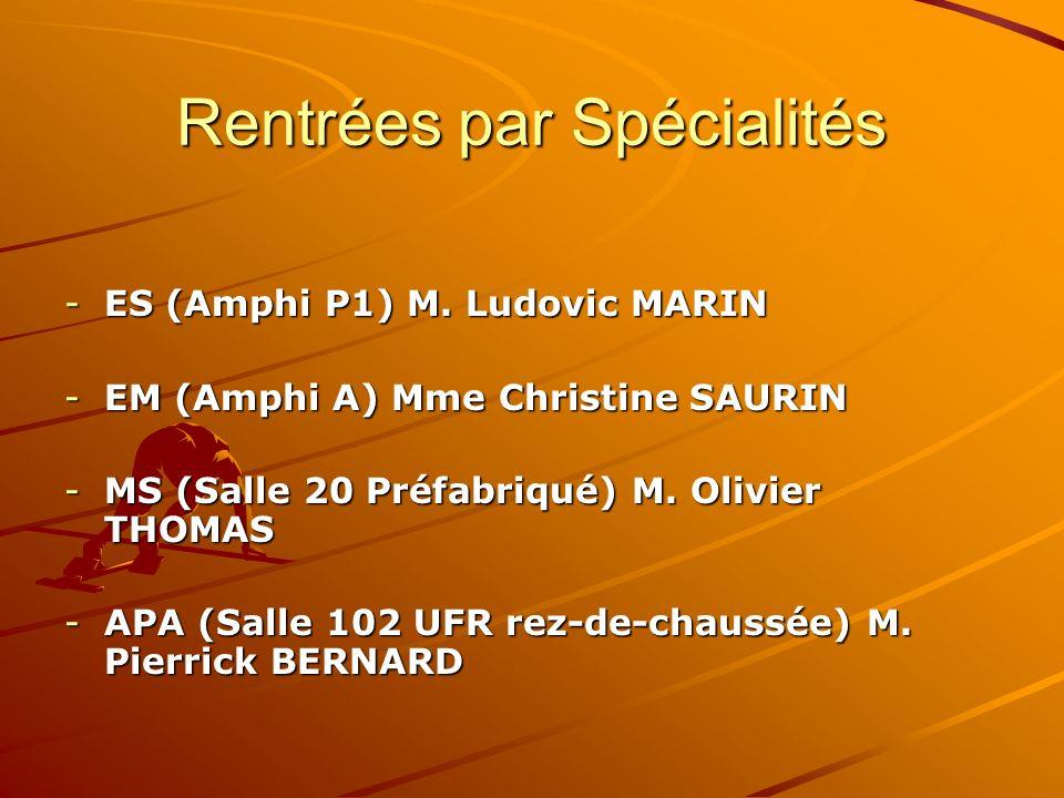Rentrées par Spécialités -ES (Amphi P1) M. Ludovic MARIN -EM (Amphi A) Mme Christine SAURIN -MS (Salle 20 Préfabriqué) M. Olivier THOMAS -APA (Salle 1