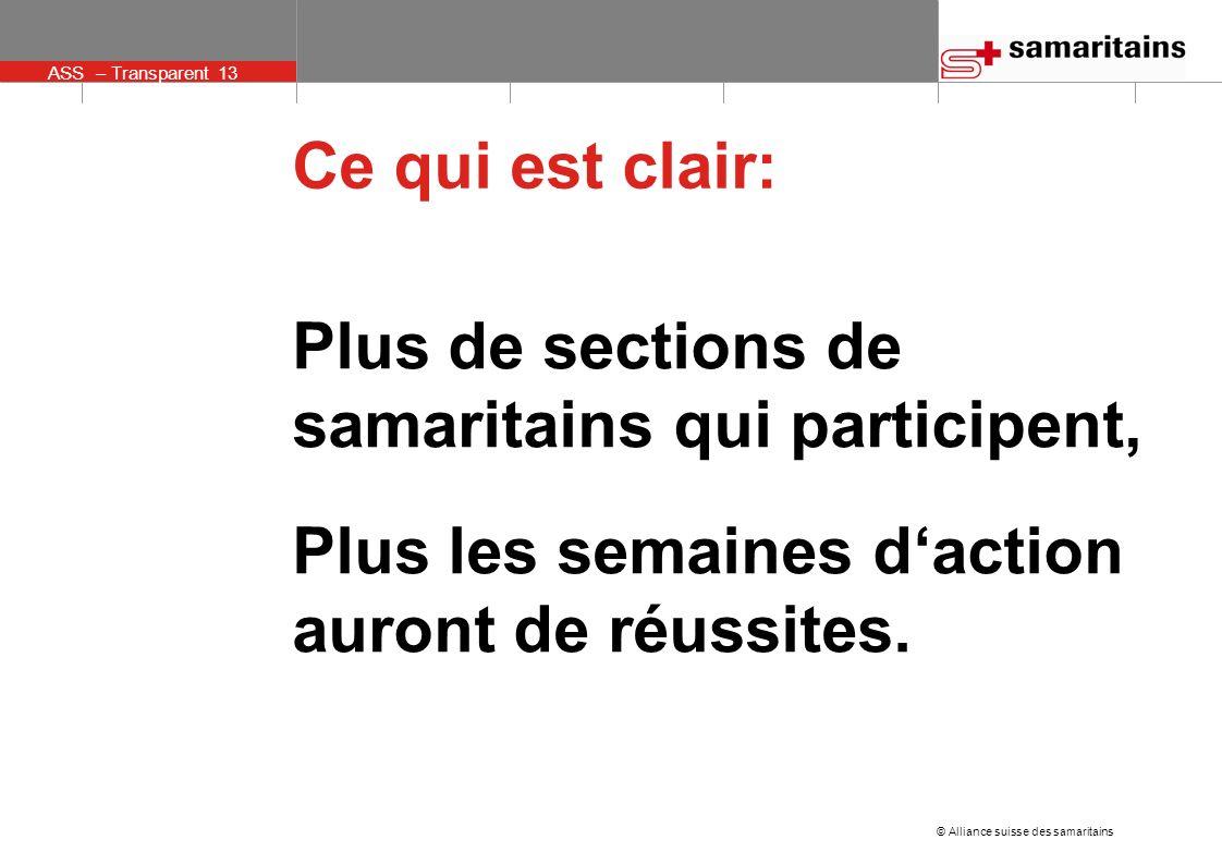 ASS – Transparent 13 © Alliance suisse des samaritains Ce qui est clair: Plus de sections de samaritains qui participent, Plus les semaines daction auront de réussites.
