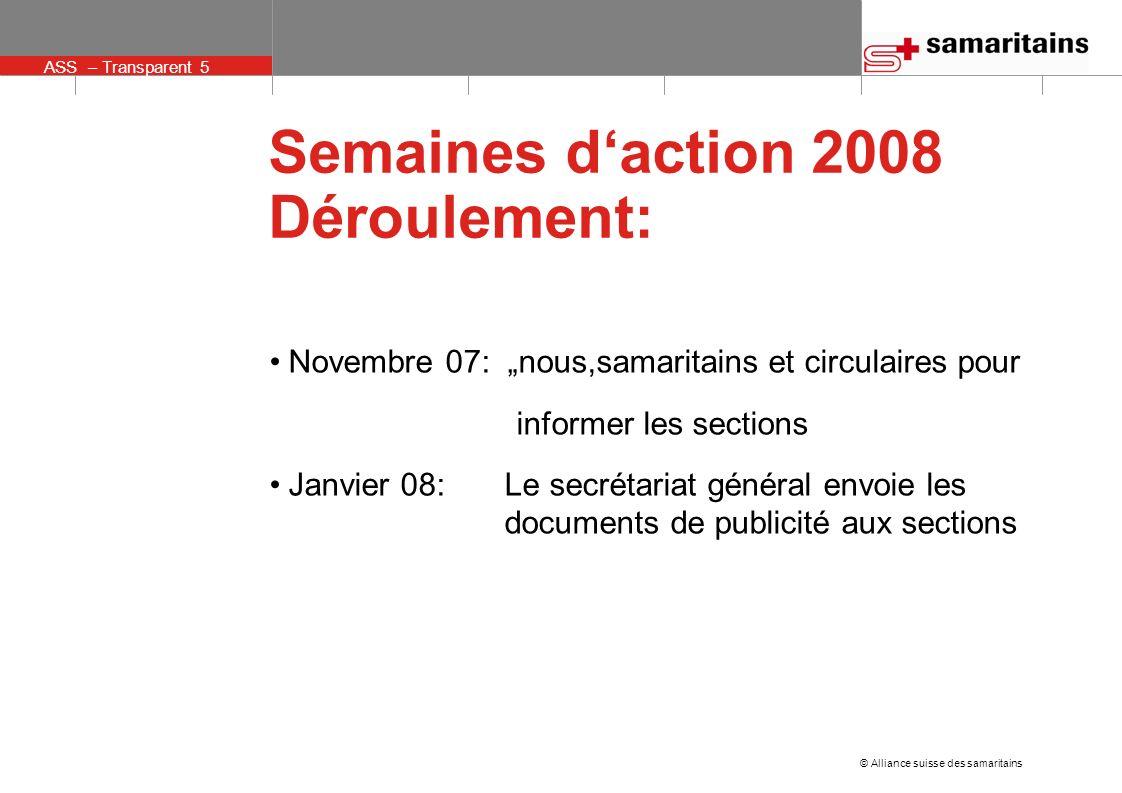 ASS – Transparent 5 © Alliance suisse des samaritains Semaines daction 2008 Déroulement: Novembre 07: nous,samaritains et circulaires pour informer le
