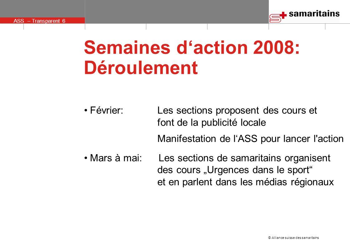 ASS – Transparent 6 © Alliance suisse des samaritains Semaines daction 2008: Déroulement Février: Les sections proposent des cours et font de la publi