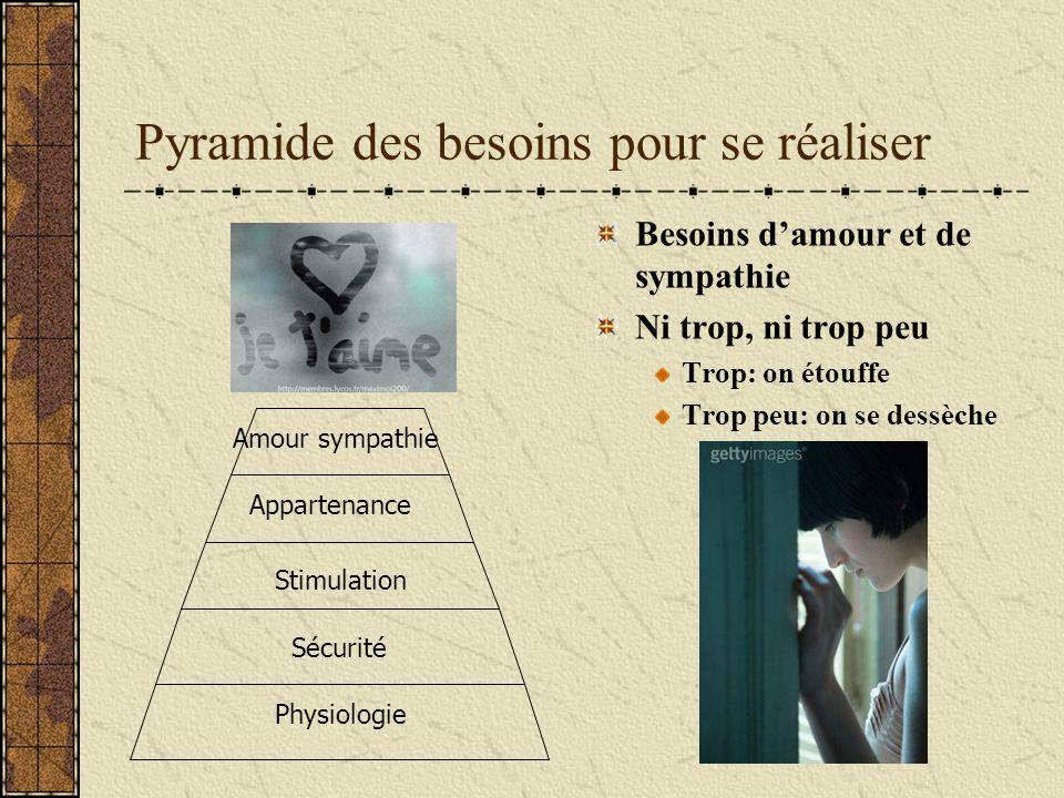 Pyramide des besoins pour se réaliser Besoins damour et de sympathie Ni trop, ni trop peu Trop: on étouffe Trop peu: on se dessèche Physiologie Sécuri