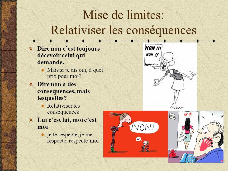 Mise de limites: Relativiser les conséquences Dire non cest toujours décevoir celui qui demande.
