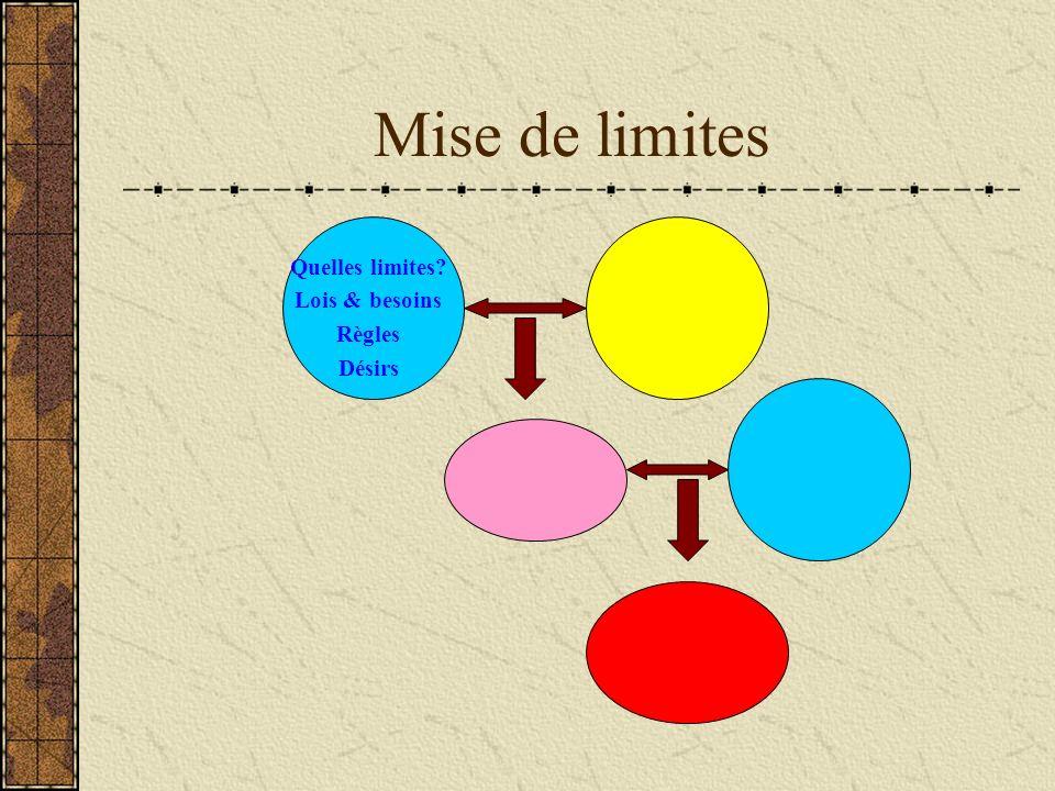 Mise de limites Quelles limites? Lois & besoins Règles Désirs