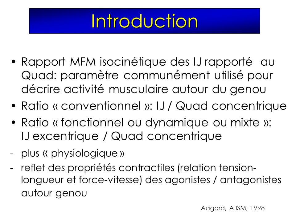 Introduction Rapport MFM isocinétique des IJ rapporté au Quad: paramètre communément utilisé pour décrire activité musculaire autour du genou Ratio «