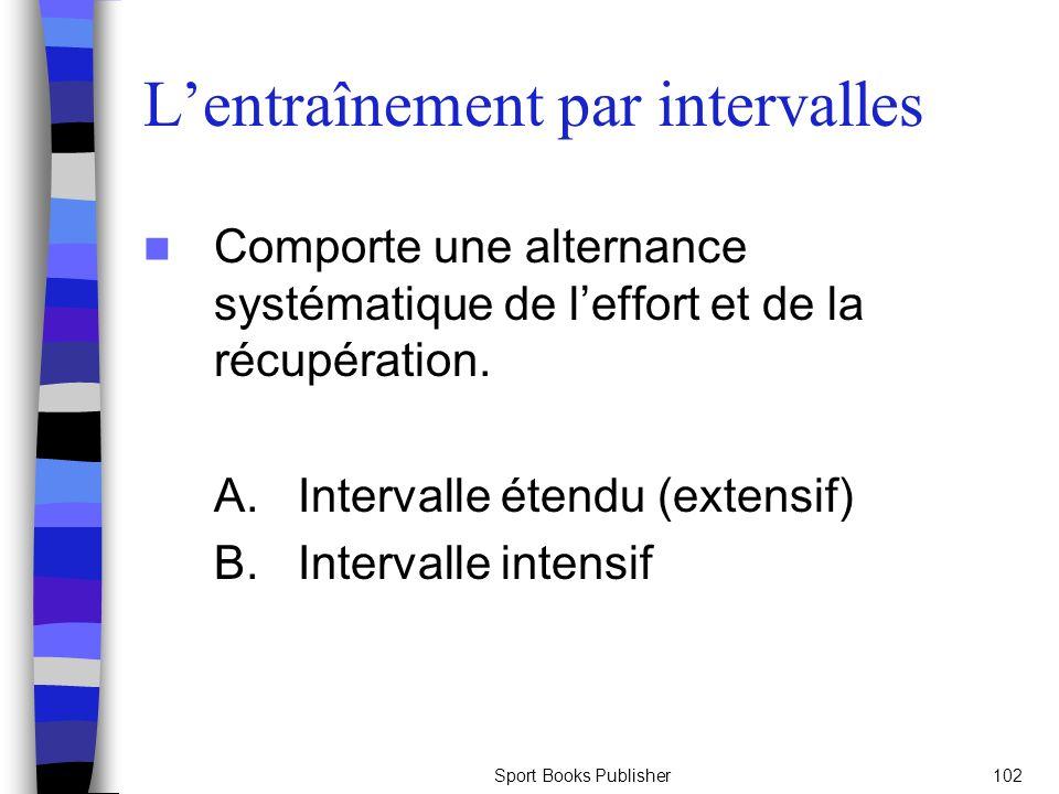 Sport Books Publisher102 Lentraînement par intervalles Comporte une alternance systématique de leffort et de la récupération. A. Intervalle étendu (ex