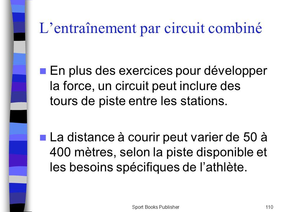 Sport Books Publisher110 Lentraînement par circuit combiné En plus des exercices pour développer la force, un circuit peut inclure des tours de piste entre les stations.