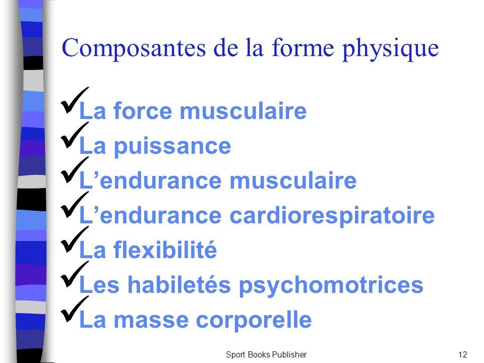 Sport Books Publisher12 La force musculaire La puissance Lendurance musculaire Lendurance cardiorespiratoire La flexibilité Les habiletés psychomotric