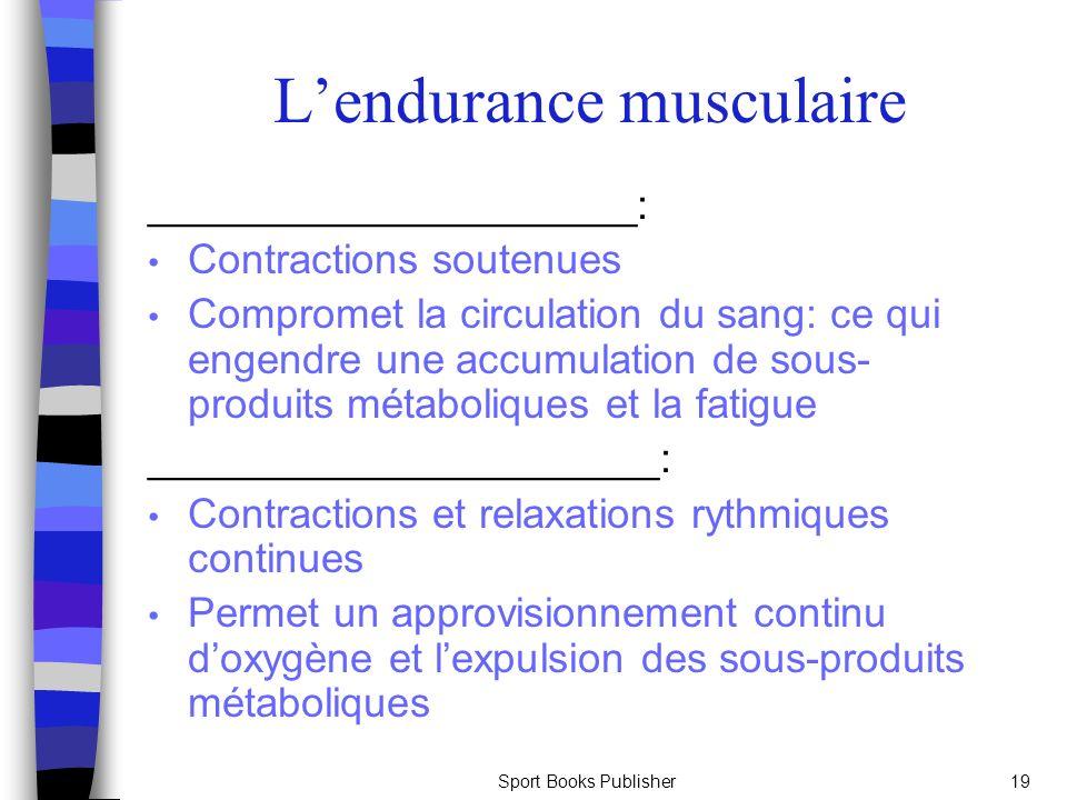 Sport Books Publisher19 Lendurance musculaire _____________________: Contractions soutenues Compromet la circulation du sang: ce qui engendre une accu